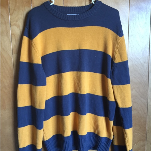 Wesc Sweaters Blue And Yellow Striped Sweater Poshmark